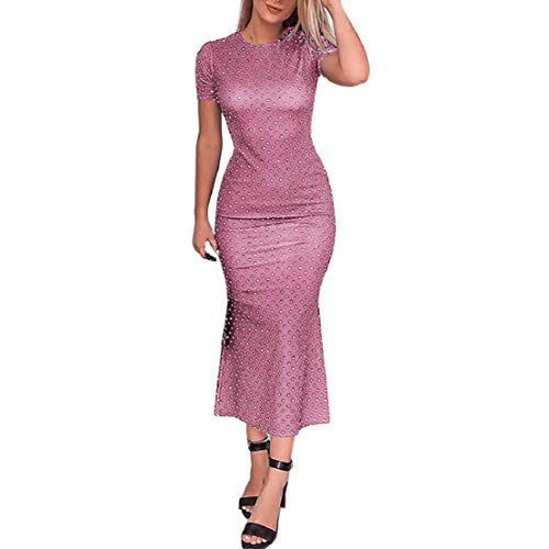 (Women Short Sleeve Bodycon Dress Vintage Polka Dot Midi Dress Party Casual Work Dress by Lowprofile)