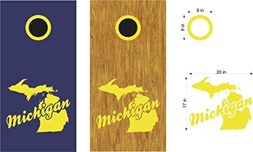 Michigan Cornhole Board Decals Stickers Bean Bag Toss ()