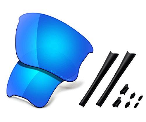 Saucer Premium Replacement Lenses & Rubber Kits for Oakley Flak Jacket XLJ Sunglasses High Defense - Glacier Blue Polarized ()