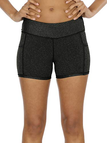 icyzone Workout Running Shorts for Women - Yoga Exercise Lounge Athletic Activewear Compression Shorts with Pockets & Drawstring (S, Black)