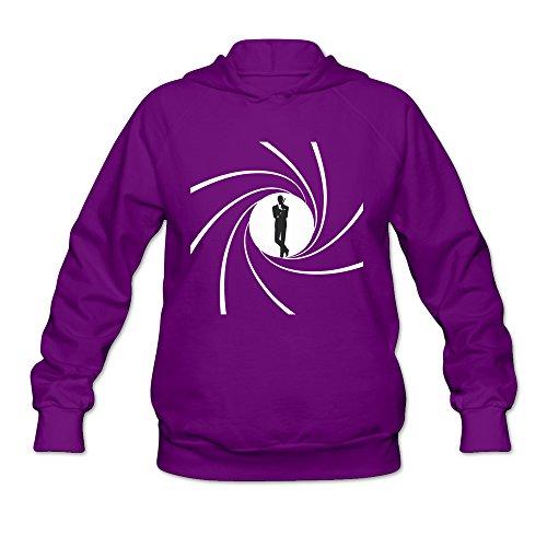 (Women's 007 James Bond Logo Lightweight Hoodie Purple)