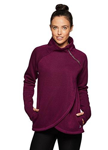 RBX Active Women's Zip Mock Pullover with Tulip Crossover Purple M