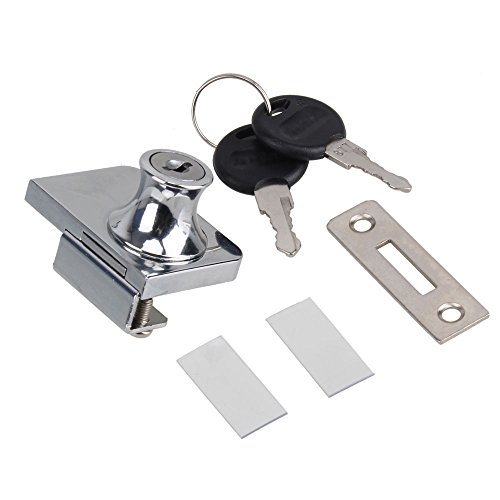 RDEXP Silver Stainless Steel Cabinet Show Case Display Glass Keyed Door Lock with Fitting Parts (Display Hardware)