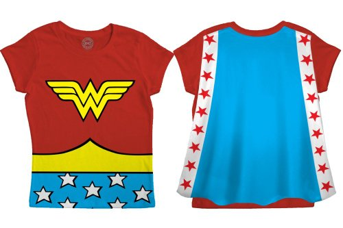 Wonder Woman T Shirt Cape (DC Comics Wonder Woman Toddler Costume Red Caped T-Shirt (3T,)