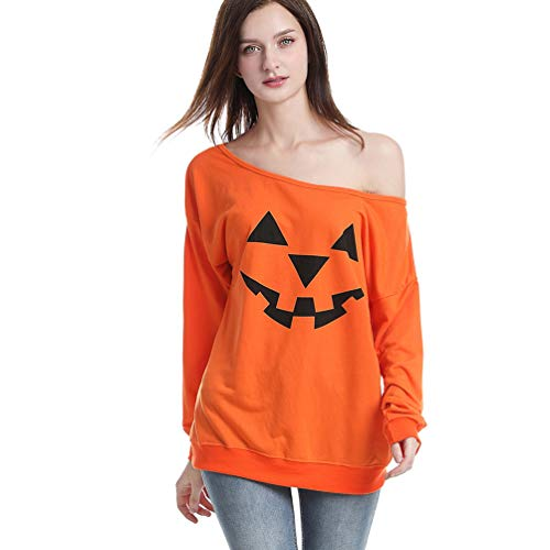 Rysly Womens Sexy Off The Shoulder Halloween Pumpkin Sweatshirts Pullover Costumes Plus Size XL Orange]()