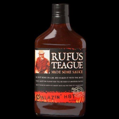 Rufus Teague Blazin' Hot Flask BBQ Sauce  16 Oz. Glass Flask