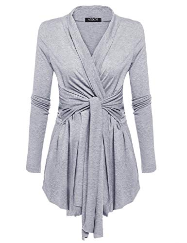 - ACEVOG Women Long Open Front Lightweight Soft Knit Cardigan Sweaters Grey XL