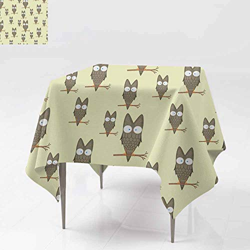 Washable Square Tablecloth,Seamless pattern of owls on a branch for kids statione,For Events Party Restaurant Dining Table Cover 54x54 Inch ry des igns and clothing cartoon bird Obverse the paper - Obverse Proof Like