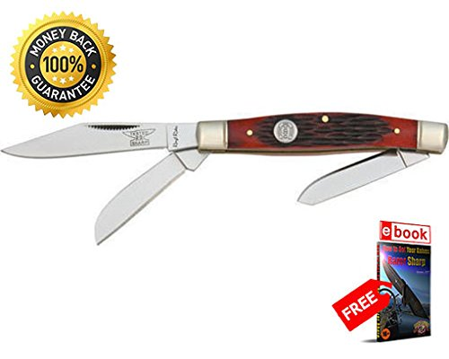Jigged Stockman Red (Rough Rider Folding Utility Knife 291 Folding Knife Stockman Red Jigged Bone Handle 3 1 4'' razor sharp knife strong carbon blade survival camping hunting EDC military knife eBOOK by MOON KNIVES)