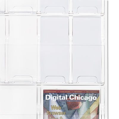 Safco 5600CL Reveal Clear Literature Displays 18 Compartments 30w x 2d x 45h Clear