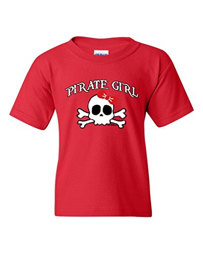 Blue Tees Pirate Girl for Kids Halloween Birthday Party Costume Fashion People Couples Gifts Best Friend Gifts Unisex Youth Kids T-Shirt Tee Clothing Youth Small Red -