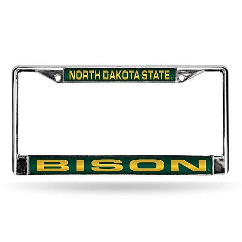 Rico Industries NCAA North Dakota State Bison Laser Cut Inlaid Standard License Plate Frame, 6