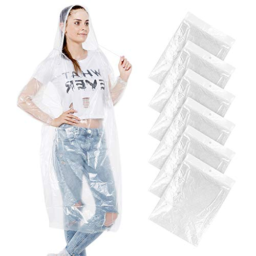- Darller Emergency Rain Ponchos with Drawstring Hood Waterproof Disposable Thicker Plastic Poncho Raincoat - 6 Pack, Clear White