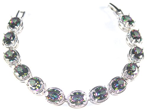 - Silver Elegant Mystic fire Topaz Oval Women Bracelet 7 inches