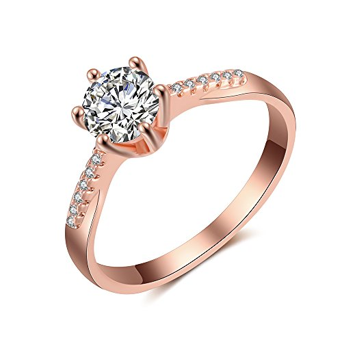 dnswez Rose Gold 1 Ct Hearts and Arrows Cut CZ Solitaire Engagement Rings(8) (Settings Engagement Ring Rose Gold)