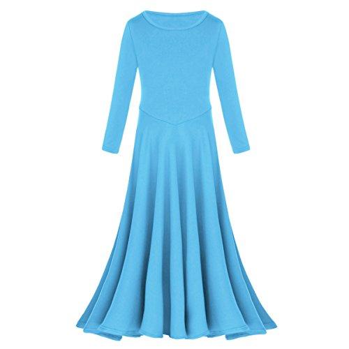 IBTOM CASTLE Little/Big Girls Long Sleeve Liturgical Praise Lyrical Dance Dressrincess Pageant Wedding Junior Bridesmaid First Communion Ball Gown Blue 5-6 Years