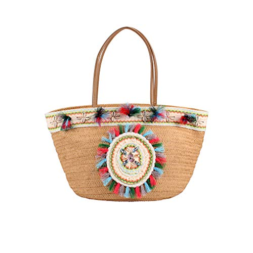 Sornean Summer Beach Straw Bag Top Handle Shoulder Bag Women Tote with Tassels (Brown Flower)