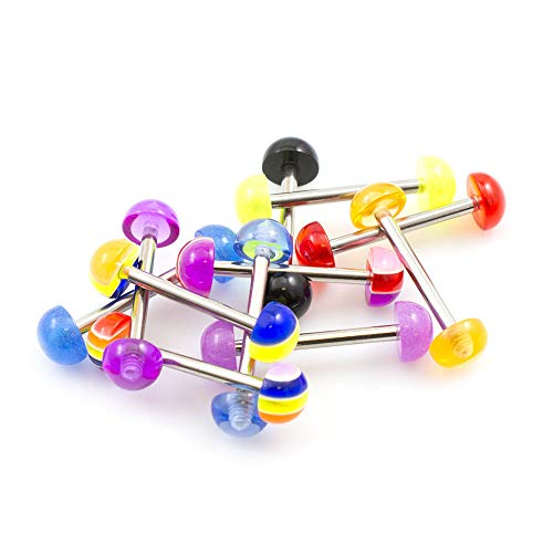 BodyJewelryOnline Pack of 10 Straight Barbells 14g with Half Ball Colorful Design