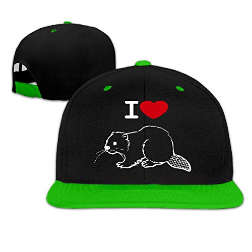I Love Beaver Adjustable Hip Pop Trucker Hat Baseball Cap Snapback Green