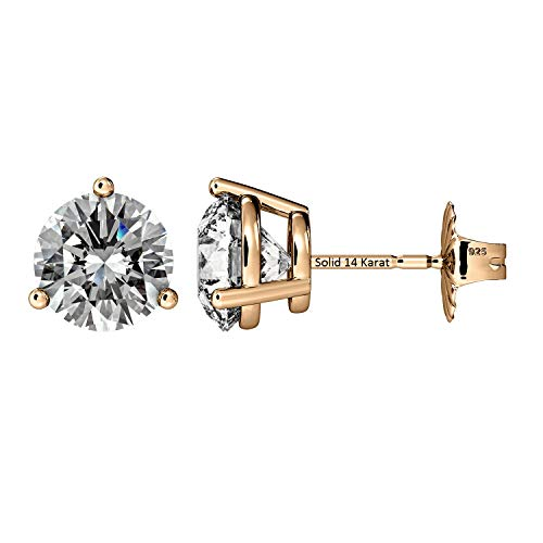 NANA 14k Gold Post & Sterling Silver 3 Prong CZ Stud Earrings -Rose Plated-8.0mm-4.00cttw ()