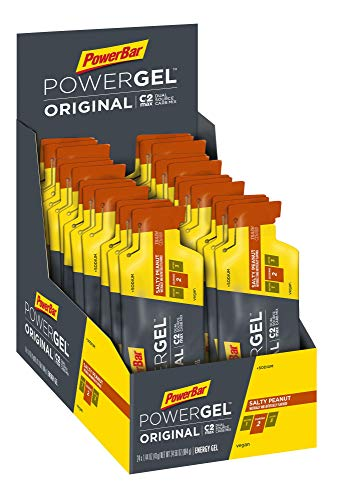 PowerBar PowerGel Original | 41g Pouch x 24 Gels | Endurance Energy C2MAX for Exercise, Salty Peanut