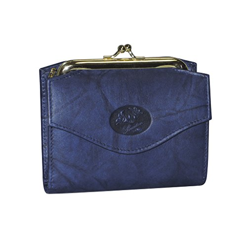 Buxton Womens Genuine Leather Heiress French Accordion Purse Wallet,Navy-Blue,One Size