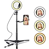 B-Land 6.2'' Ring Light with Tripod Stand & Mirror for YouTube Videos & Makeup, LED Camera Selfie Light with Cell Phone Holder, Mini Makeup Mirror with Lights, 3 Modes & 10 Brightness