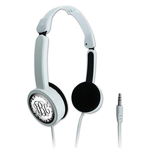 Graphics and More Personalized Custom Monogram Fancy Font Vine Outline Novelty Travel Portable On-Ear Foldable Headphones