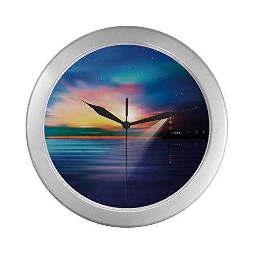 C COABALLA Lighthouse Simple Silver Color Wall Clock,Majestic Dreamy Sky and Ocean Stars Rising Sun Beacon Bay Beach for Home Office,9.65