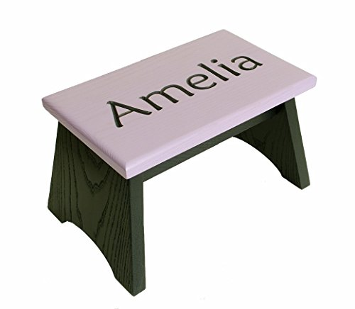 Personalized oak step stool. Painted in charcoal grey and lilac. Wooden step stool 8 inches high, 8 x 13 inches