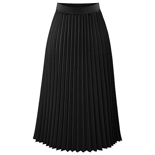TEERFU Womens Ladies Summer Boho Flared Pleated Skirt A-line Midi Skirts (Detail Pleated Skirt)