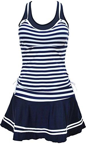 Women's Nautical Sailor Stripes Racer Back One Piece Swim Dress Swimwear, Navy, Large (US 4-6) (Navy Sailor Short)
