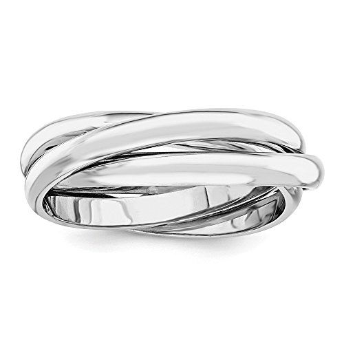 14k White Gold Rolling Band Ring Size 7.00 Wedding Fancy Fine Jewelry Gifts For Women For - White Gold Rolling Ring
