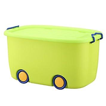 Unbekannt Spielzeug Aufbewahrungsbox Kunststoff Aufbewahrungsboxen mit Deckel Kinder Spielzeug Kleidung Quilt Snacks Aufbewahrungsbox mit R/ädern Farbe : Blau