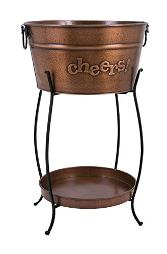 Imax Trisha Yearwood Home 44257 Persimmon Beverage Tub with Tray and - Tub Stand Copper Beverage