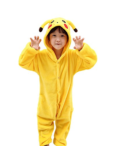 Kids Animal Costume Onesie Girls Boys Pikachu Cosplay (110cm(Height:100-110cm)) for $<!--$35.80-->