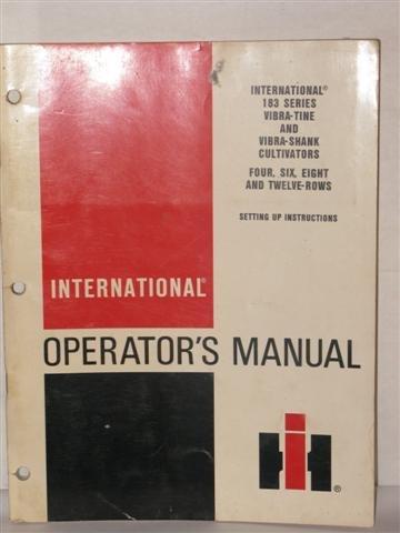 International 183 series vibra tine & vibra shank cultivators operators manual by International harvester