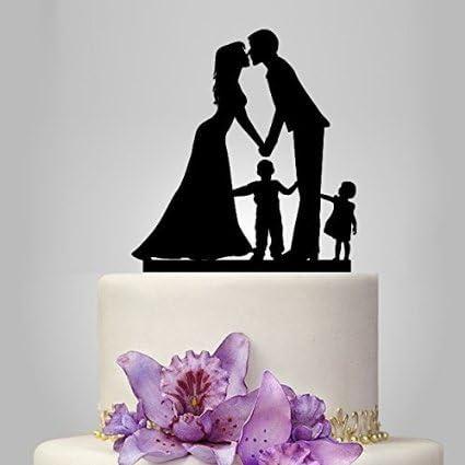 Anniversario Matrimonio Con Bambini.Sconosciuto Acrilico Cake Topper Sposa E Sposo Famiglia Con 2