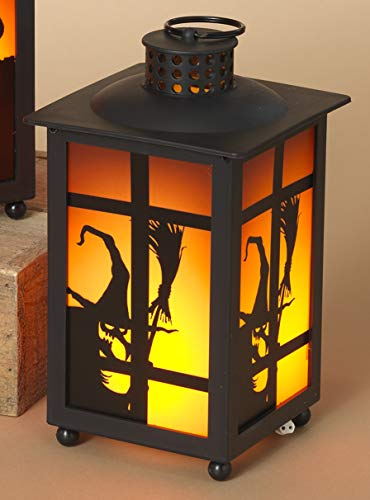 One Holiday Way LED Lighted Halloween Lantern with Flame Effect and Spooky Silhouette - Tabletop Halloween Decoration (Witch) ()