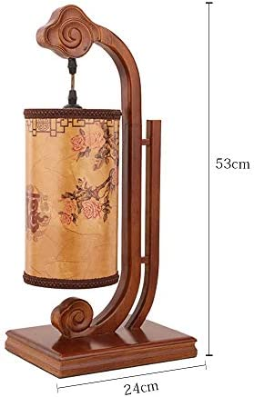Chinese Style Small Desk lamp Bedroom Bedside lamp Creative Retro Decoration Study Table lamp Solid Wood Imitation Sheepskin Tea Room Lamps