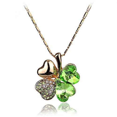 FITIONS - Gold Green Color Crystal Four Leaf Clover Pendant Necklaces Made with Elements Women Jewelry Accessories-30 ()