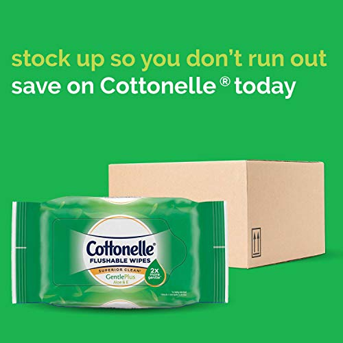 41p%2BwPxQldL - Cottonelle GentlePlus Flushable Wet Wipes with Aloe & Vitamin E, 6 Packs, 42 Wipes per Pack (252 Wipes Total)