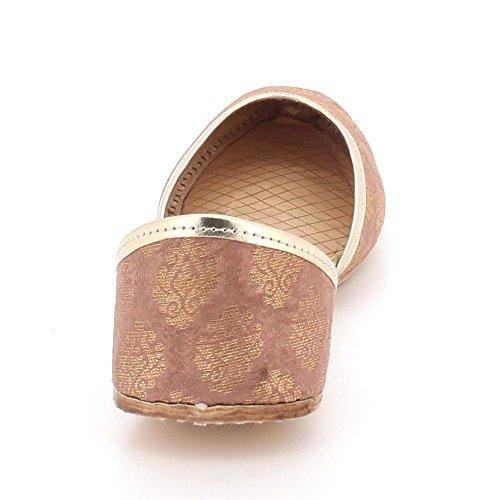 AARZ LONDON Womens Ladies Traditional Ethnic Bridal Handmade Leather Flat Khussa Jutti Mojari Indian Pumps Slip On Shoes Size Peach NJXke