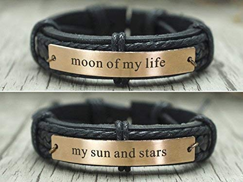 Couple Bracelet for Him and Her Set, Game of Thrones Inspired Matching Cuffs, Moon of My Life My Sun and Stars, Rose Gold Metal Black Leather Band