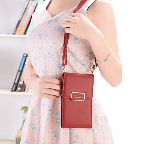 Smartphone Cell Red Shoulder Cellphone Purse Crossbody Evaliana Bags Wallet Pouch Bag Clutch Coin Phone qEa1wC