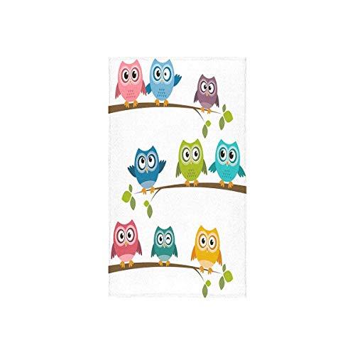 INTERESTPRINT Cartoon Owls Bathroom Hand Towels 16 x 28 inches Bath Towels Home Travel Use (Bath Owl Towels)
