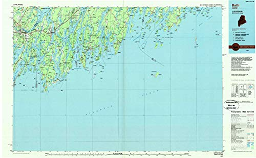 YellowMaps Bath ME topo map, 1:100000 Scale, 30 X 60 Minute, Historical, 1985, Updated 1986, 24 x 38.8 in - Polypropylene -