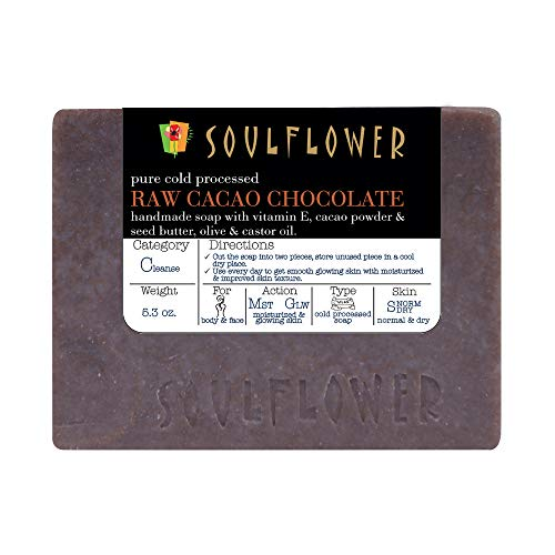 Raw Cacao Chocolate Handmade Soap by Soulflower, (5.3Oz) 100% Natural,Organic, Vegan & Coldprocessed, USFDA approved, SLS Free, Moisturizes Skin, Indian Formulation