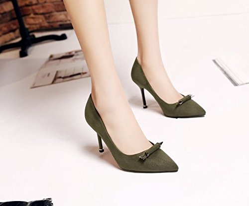 Green Olici Lady Fine Work Shallow High Shoes 8 Leisure Shoes MDRW Spring With Accessories Pointed With Scrub All Metal Dark Heeled Match Shoes 37 Shoes Mouth Elegant 5Cm rrwqF5xU
