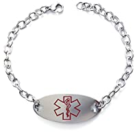 Max Petals - Eliquis Medical Alert ID Stainless Steel Identification Bracelet with 9 Inch Chain
